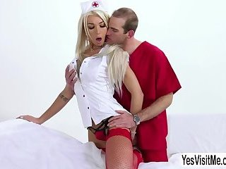 Tattooed blonde Tgirl Aubrey Kate gets her ass hole licked and fucked