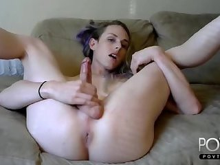 Nice blonde tgirl jerking on webcam