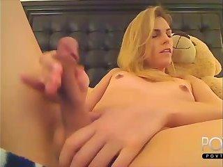 Cute blonde tgirl cums