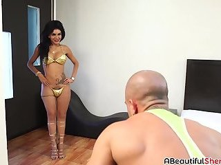 Stunning brunette shemale Ms Carrillo banged hard and raw