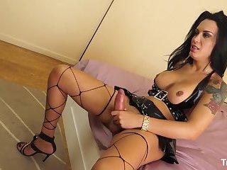TRANS BELLA - Brunette Brazilian shemale gets cum covered in hot hard fuck