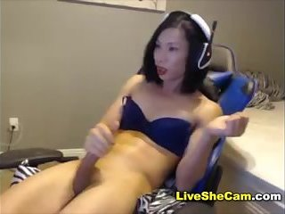 Cool ladyboy cums hard