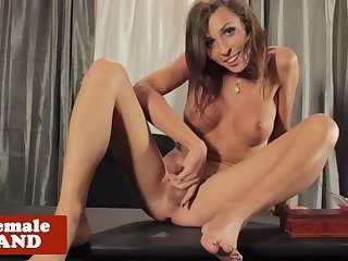 Glam shemale wanking and stroking her dick