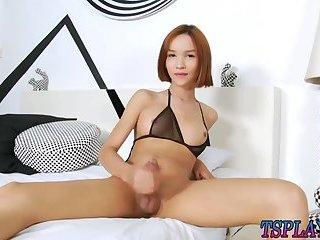 Asian ladyboy Mikki A masturbates cock