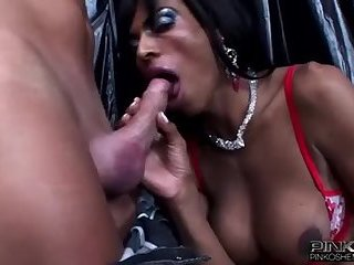Transexual big tits ebony and big dong fucks guy