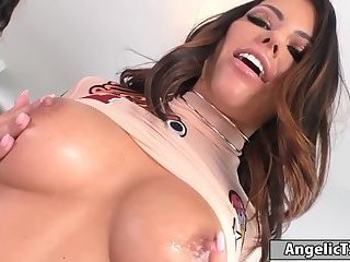 Busty shemale Chanel fucks sexy babe Adriana on the couch