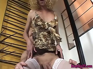 Mature trans cums while getting buttfucked