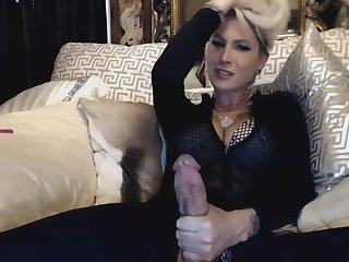 Hottest Big tits Blonde TS Plays Huge Cock