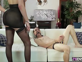 Domination shemale anal fucks a horny guy in his ass