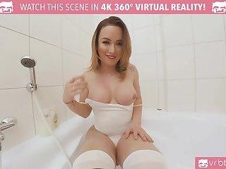 TS VR Porn-Big Tits TS Masturbating and ass play in the bathtub