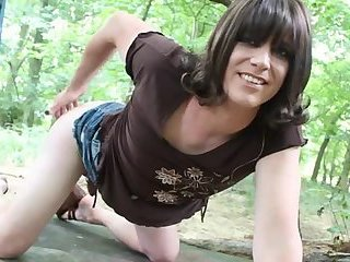 Monica Stripping in The Woods