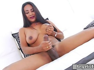 Big boobs shemale Jasmine masturbates her throbbing cock