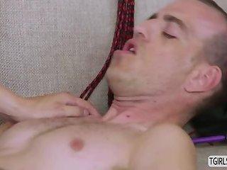 Hot tranny Freya gets a hard anal fucking by a hunk stud
