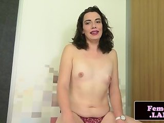 Smalltit tgirl gaping ass and masturbating