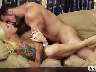 Stunning ts Aubrey recieves an anal fuck by a hunk dude