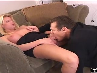 Blonde tranny gets fucked by mature male