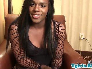 Ebony tranny stroking her hard cock