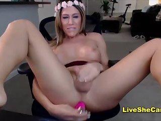 Sexy brunette transgirl playing cock