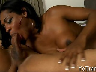 Black shemale takes fat dick up her ass
