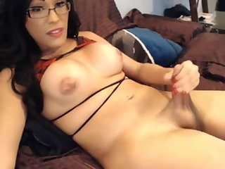 Cumshot Fot TGirl With Glasses