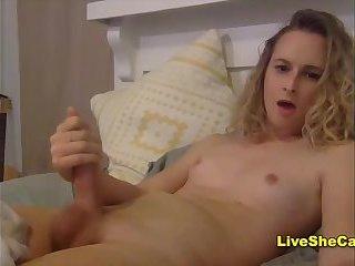 Amazing blonde big cock tgirl