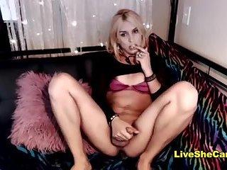 Sexy blonde tgirl jerking online