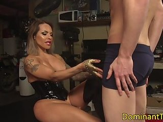 Busty ts latina punishes sub with bareback