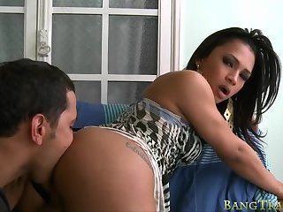 Gorgeous shemale anal rammed real hard