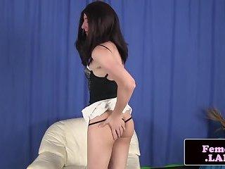 Amateur femboy assgaping while masturbating