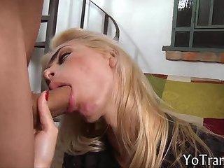 Nasty burglar shemale gets anal rammed
