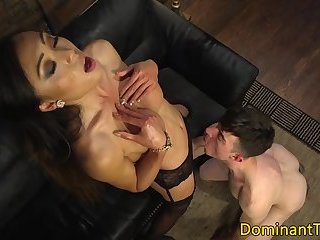 Dominating asian TS cums in hunks mouth
