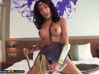Ladyboy in a Wonder Woman costume gets barebacked hard