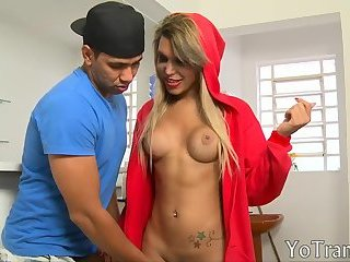 Curvy blonde shemale gets her ass nailed