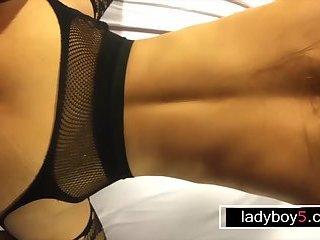 Big fake tits ladyboy fetish style blowjob and anal poked