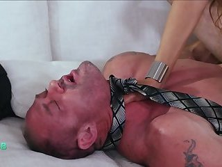 TS misstress dominates sub guy