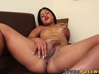 Hot brunette latin tranny jerking off her big stiff cock