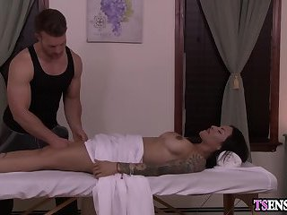Latina shemale anal fucked by a massage guys big dick