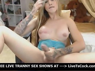 Tranny Plays Her Hard Cock