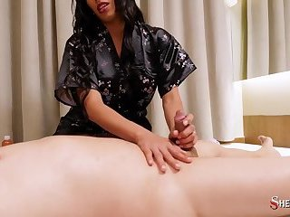 SHEMALE SHY - Sexy Shemale masseuse Cacau Di Paula blows and fucks horny her client