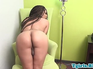 Busty ebony tgirl tugging her bbc