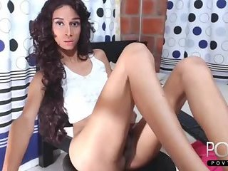 Curly latina tgirl jerking dick online