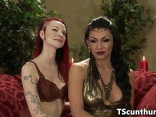 Busty latina TS assfucking redhead babe