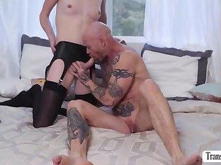 Gorgeous blonde Tranny Mandy fucks Buck Angels tight pussy