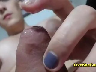 Big boobs big cock shemale jerking