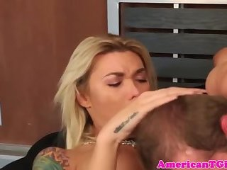 Inked tgirl assfucking with her lover