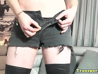 Solo shemale toying her cock and balls