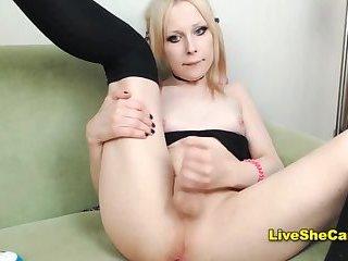 Schoolgirl outfit blonde transgirl cums