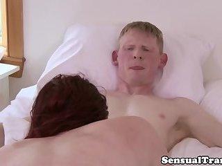 Smalltit redhead tgirl dicksucking hunk