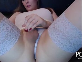 Sexy stockings blonde tgirl masturbates