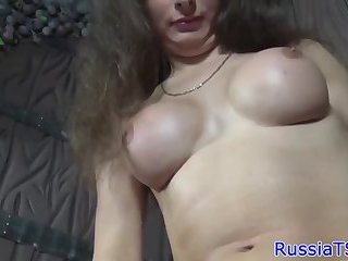 Solo russian tranny tugs on her hard cock